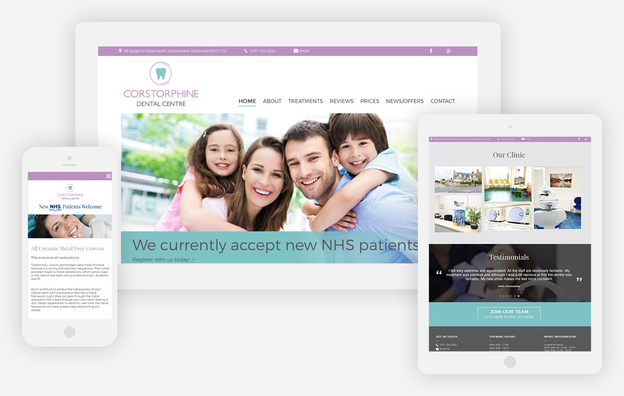 The Corstorphine Dental website shown on a mobile, tablet and desktop devices.