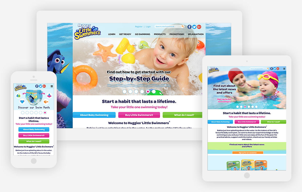 Huggies Little Swimmers website all devices